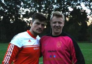 Två bra målvakter den här kvällen, t h Simon Haglund, t v Alem Sacirovic.