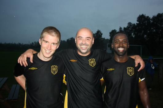 Tre glada målskyttar efteråt: fr Johannes Widerberg (1), Sorin Marin (3) och Mohammed Abdi (2)