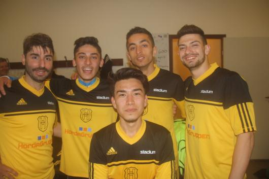 """Fyra målskyttar och en """"assistent"""": överst från vänster Erion Nishku, Omar Jebar, Armand Ashtiani, Elnes Hajrovic."""