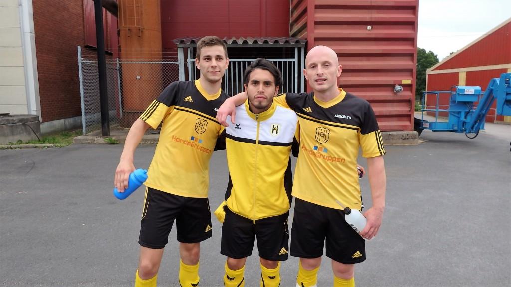 Tre målskyttar som alla gjorde toppinsatser mot Peking , fr v Misic, Alegre Herrera och Brahimi
